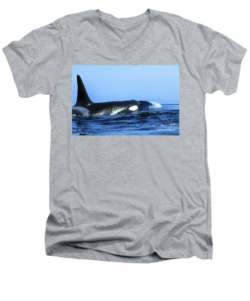 Men's V-Neck T-Shirt featuring the photograph Male Orca Off The San Juan Islands Washington 1986 by California Views Mr Pat Hathaway Archives