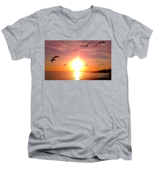 Men's V-Neck T-Shirt featuring the photograph Malibu Paradise by Chris Tarpening