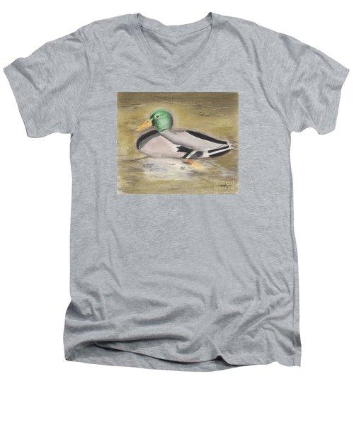 Men's V-Neck T-Shirt featuring the pastel Mallard by David Jackson