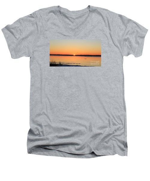 Mallards At Sunrise Men's V-Neck T-Shirt by David Jackson