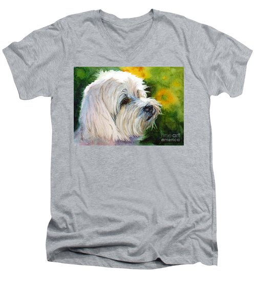 Men's V-Neck T-Shirt featuring the painting Maltese by Bonnie Rinier