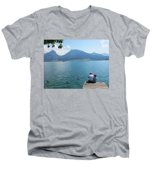 Mama And I Men's V-Neck T-Shirt by Pema Hou