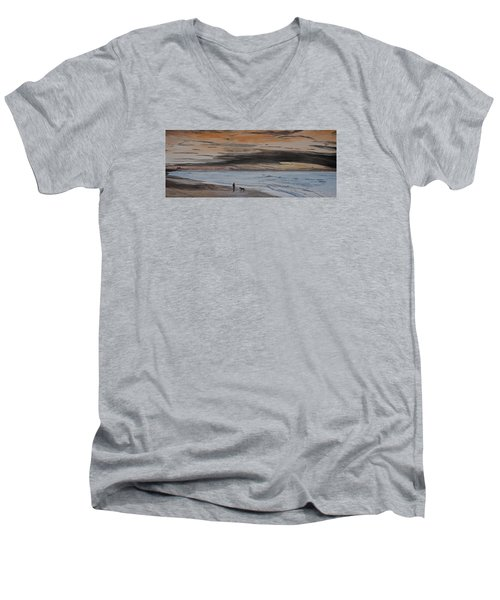 Men's V-Neck T-Shirt featuring the painting Man And Dog On The Beach by Ian Donley