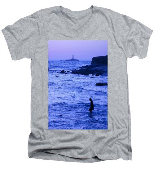 Man And Lighthouse Men's V-Neck T-Shirt