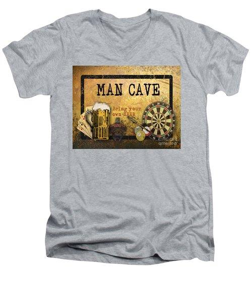 Man Cave-bring Your Own Beer Men's V-Neck T-Shirt