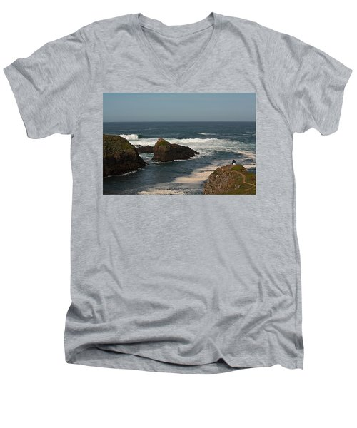 Men's V-Neck T-Shirt featuring the photograph Man Fishing by Brian Williamson