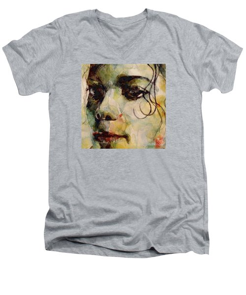 Man In The Mirror Men's V-Neck T-Shirt by Paul Lovering