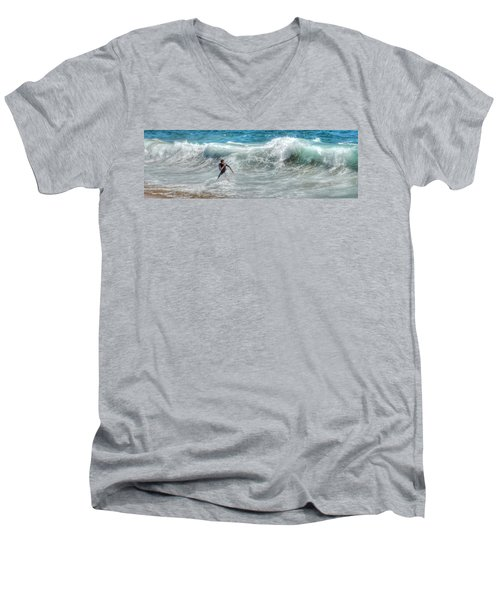 Man Vs Wave Men's V-Neck T-Shirt
