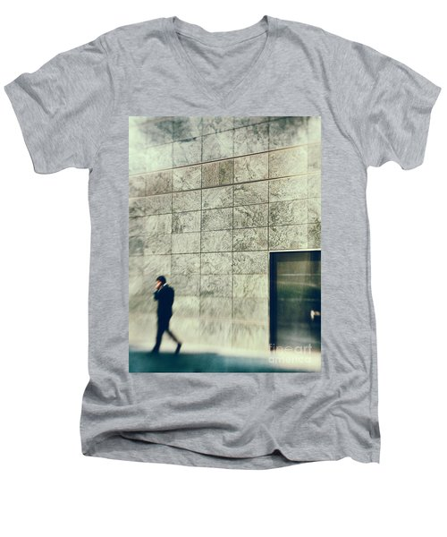 Men's V-Neck T-Shirt featuring the photograph Man With Cell Phone by Silvia Ganora