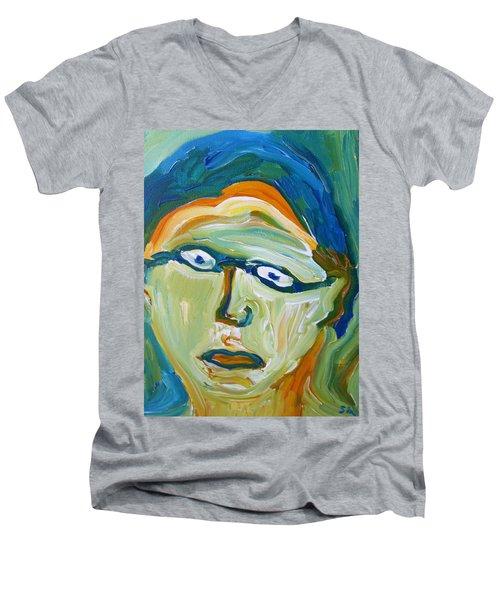 Man With Glasses Men's V-Neck T-Shirt