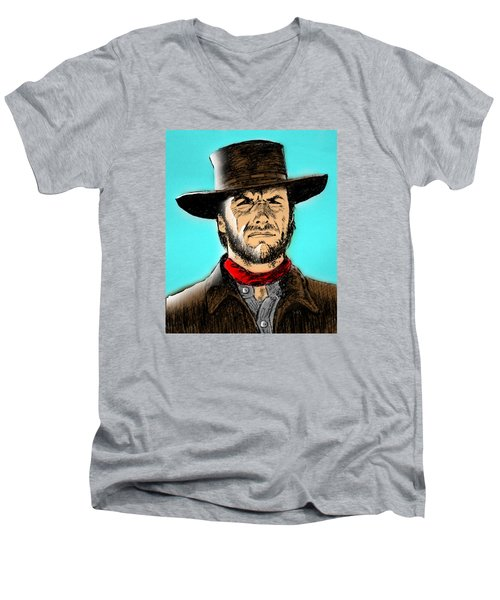 Men's V-Neck T-Shirt featuring the mixed media Clint Eastwood by Salman Ravish