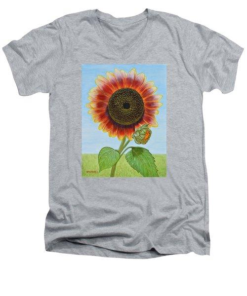 Mandy's Magnificent Sunflower Men's V-Neck T-Shirt by Donna  Manaraze