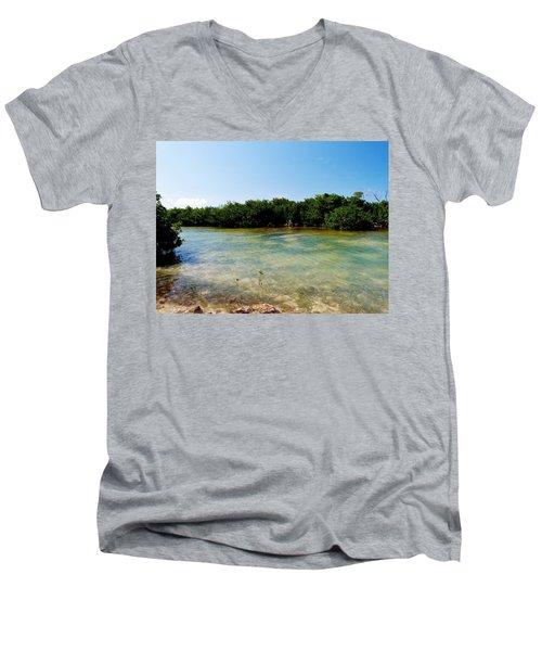 Men's V-Neck T-Shirt featuring the photograph Mangrove @ Safehaven Sound by Amar Sheow