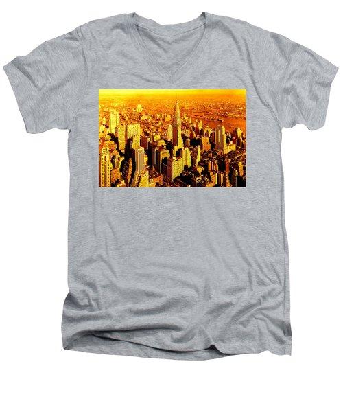 Manhattan And Chrysler Building Men's V-Neck T-Shirt