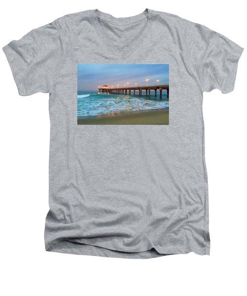 Manhattan Beach Reflections Men's V-Neck T-Shirt by Art Block Collections