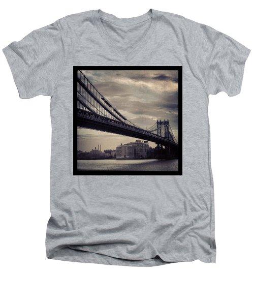 Manhattan Bridge In Ny Men's V-Neck T-Shirt