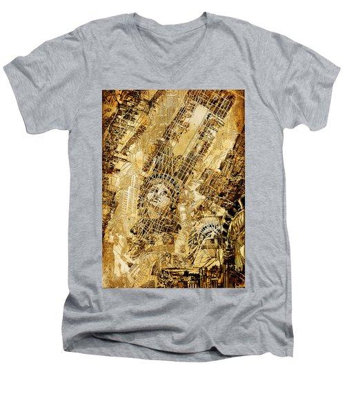 Manhattan Map Antique Men's V-Neck T-Shirt