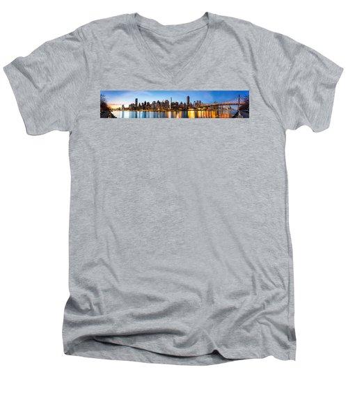 Manhattan Panorama And Queensboro Bridge Men's V-Neck T-Shirt