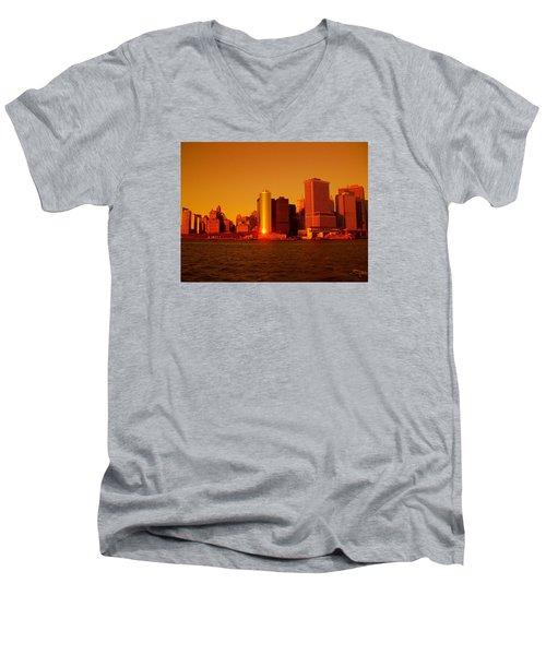 Manhattan Skyline At Sunset Men's V-Neck T-Shirt