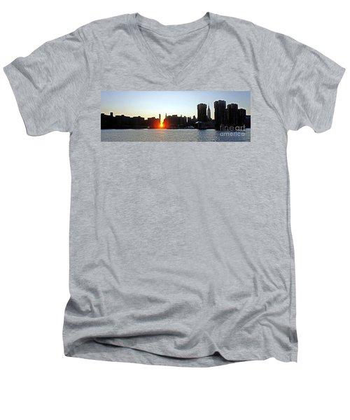 Men's V-Neck T-Shirt featuring the photograph Manhattanhenge 2011 by Lilliana Mendez
