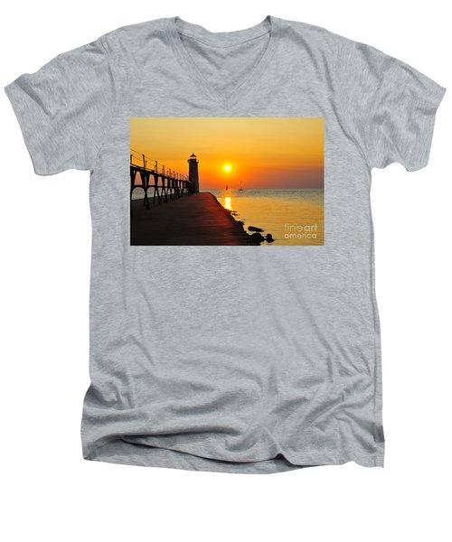 Manistee Lighthouse Sunset Men's V-Neck T-Shirt