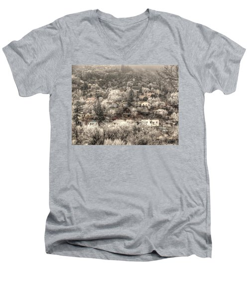 Manitou To The South In Snow Close Up Men's V-Neck T-Shirt by Lanita Williams