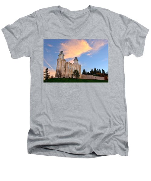 Manti Temple Morning Men's V-Neck T-Shirt by David Andersen