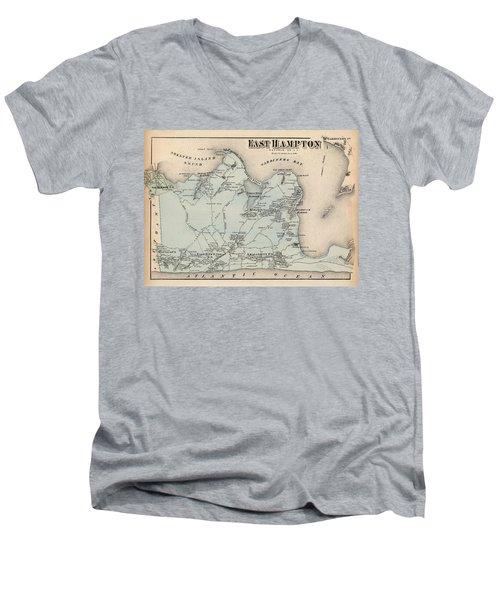 Map Of East Hampton 1873 Men's V-Neck T-Shirt