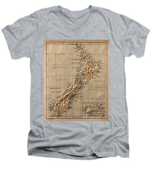 Map Of New Zealand 1880 Men's V-Neck T-Shirt