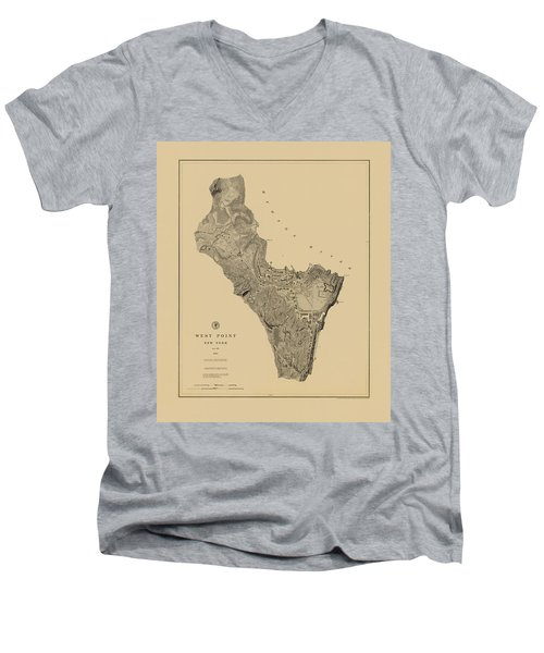 Map Of West Point 1883 Men's V-Neck T-Shirt