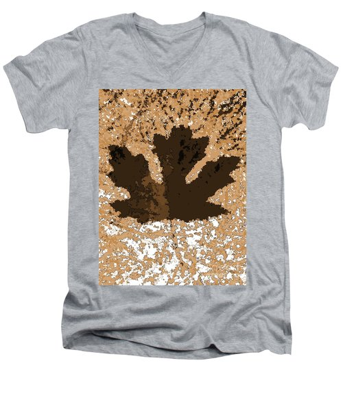 Maple Leaf Brown  Hues Men's V-Neck T-Shirt by R Muirhead Art