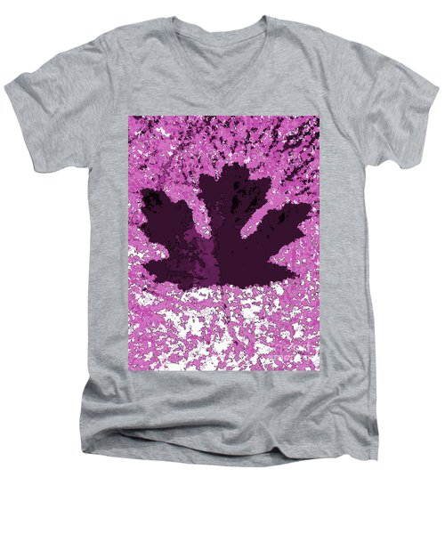 Maple Leaf Purple Pop Poster Hues  Men's V-Neck T-Shirt by R Muirhead Art