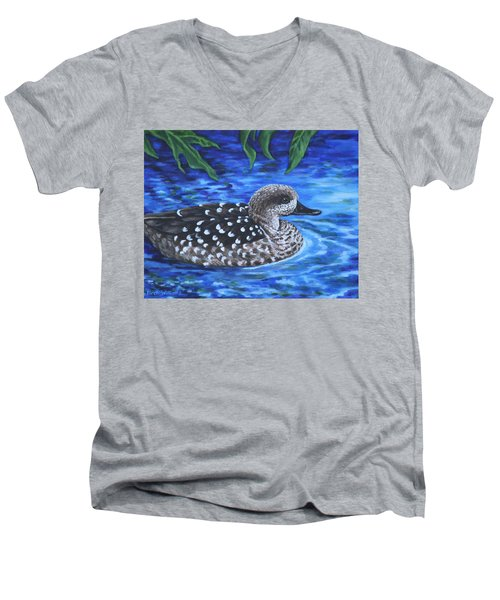 Men's V-Neck T-Shirt featuring the painting Marbled Teal Duck On The Water by Penny Birch-Williams
