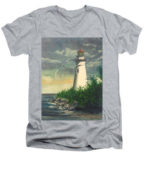 Marblehead Light On Lake Erie Men's V-Neck T-Shirt by Frank Hunter