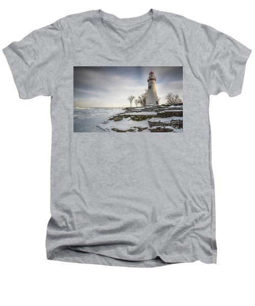 Marblehead Lighthouse Winter Men's V-Neck T-Shirt by James Dean