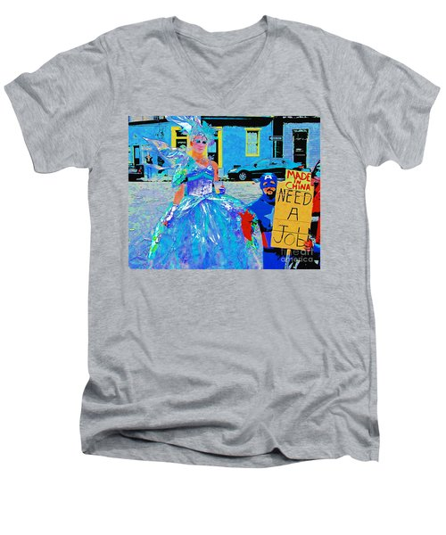 Men's V-Neck T-Shirt featuring the photograph Mardi Gras New Orleans by Luana K Perez
