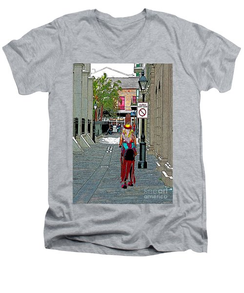 Men's V-Neck T-Shirt featuring the photograph Mardi Gras In French Quarter by Luana K Perez