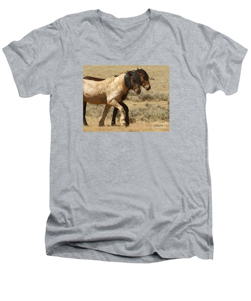 Men's V-Neck T-Shirt featuring the photograph Mares In Step-signed-#9139 by J L Woody Wooden