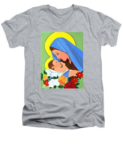 Men's V-Neck T-Shirt featuring the painting Maria And Baby Jesus by Magdalena Frohnsdorff