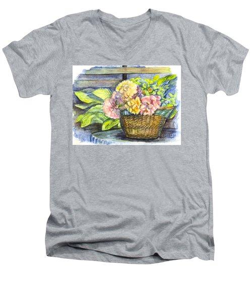 Marias Basket Of Peonies Men's V-Neck T-Shirt