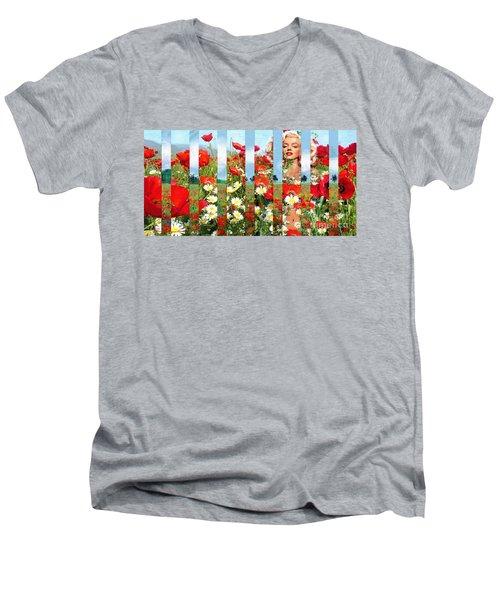 Marilyn In Poppies 1 Men's V-Neck T-Shirt