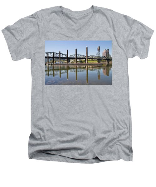 Men's V-Neck T-Shirt featuring the photograph Marina By Willamette River In Portland Oregon by JPLDesigns