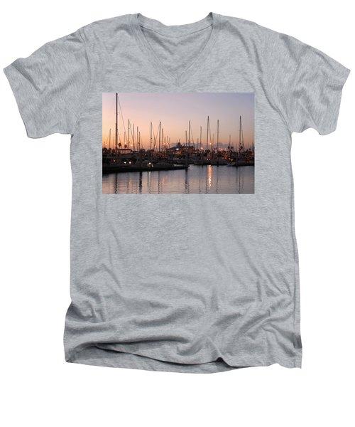 Marina Sunrise 12 Men's V-Neck T-Shirt by Leticia Latocki