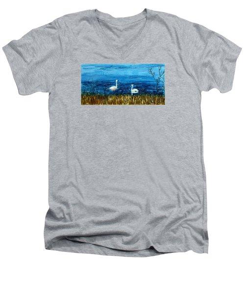 Marion Lake Swans Men's V-Neck T-Shirt