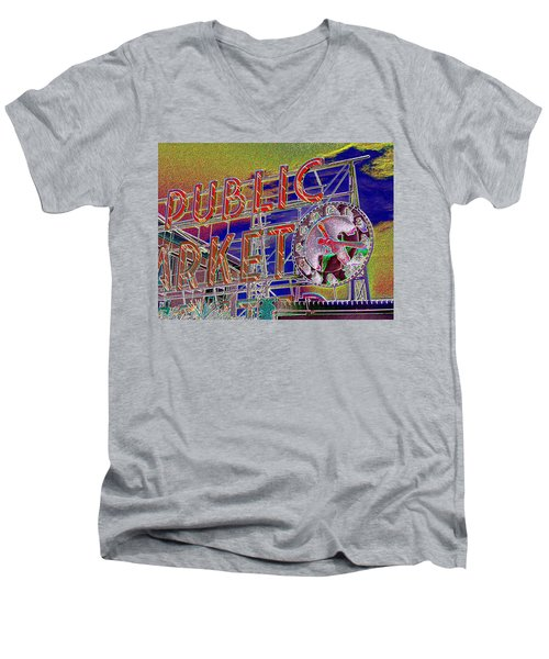 Market Clock 1 Men's V-Neck T-Shirt