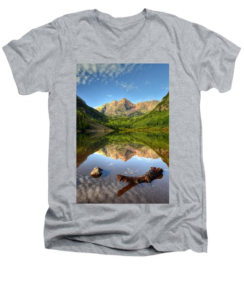 Maroon Bells And Maroon Lake Men's V-Neck T-Shirt