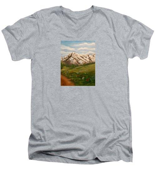 Maroon Trail Splendor Men's V-Neck T-Shirt by Sheri Keith
