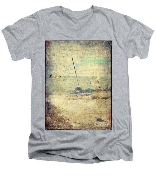 Marooned Men's V-Neck T-Shirt by Erika Weber