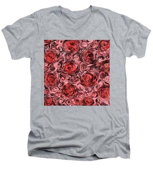Marsala Roses Men's V-Neck T-Shirt