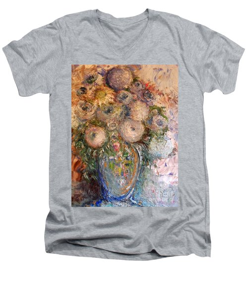 Men's V-Neck T-Shirt featuring the painting Marshmallow Flowers by Laurie L